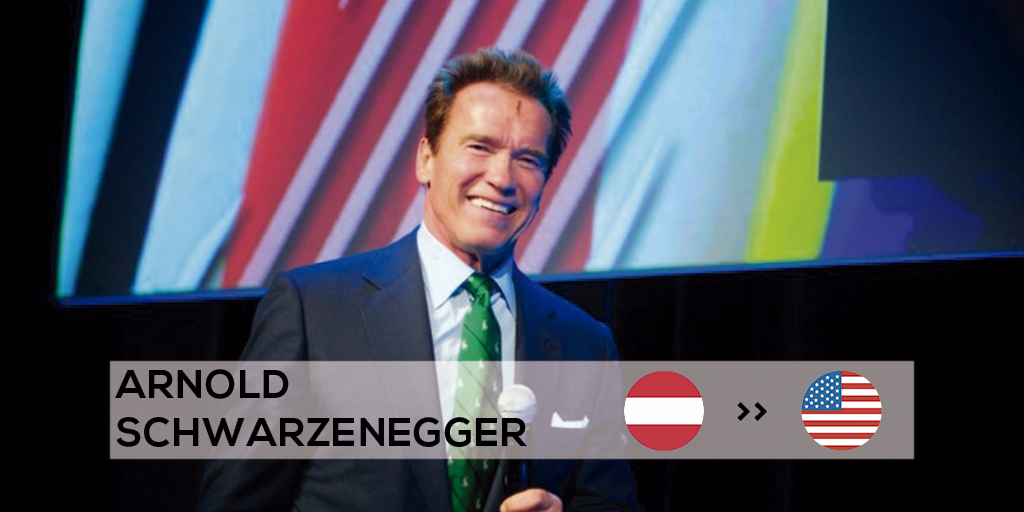 Arnold Schwarzenegger moved from Austria to work in the USA